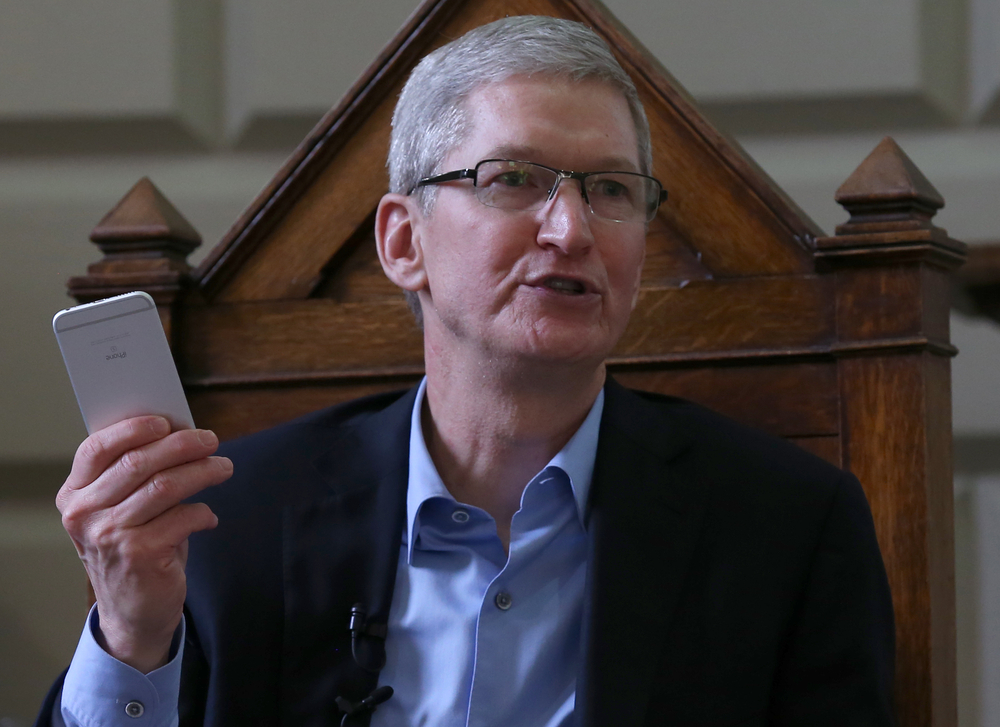 Tim Cook speaks about Apple's commitment to Product Red for World AIDS Day. Laura Hutton / Shutterstock.com
