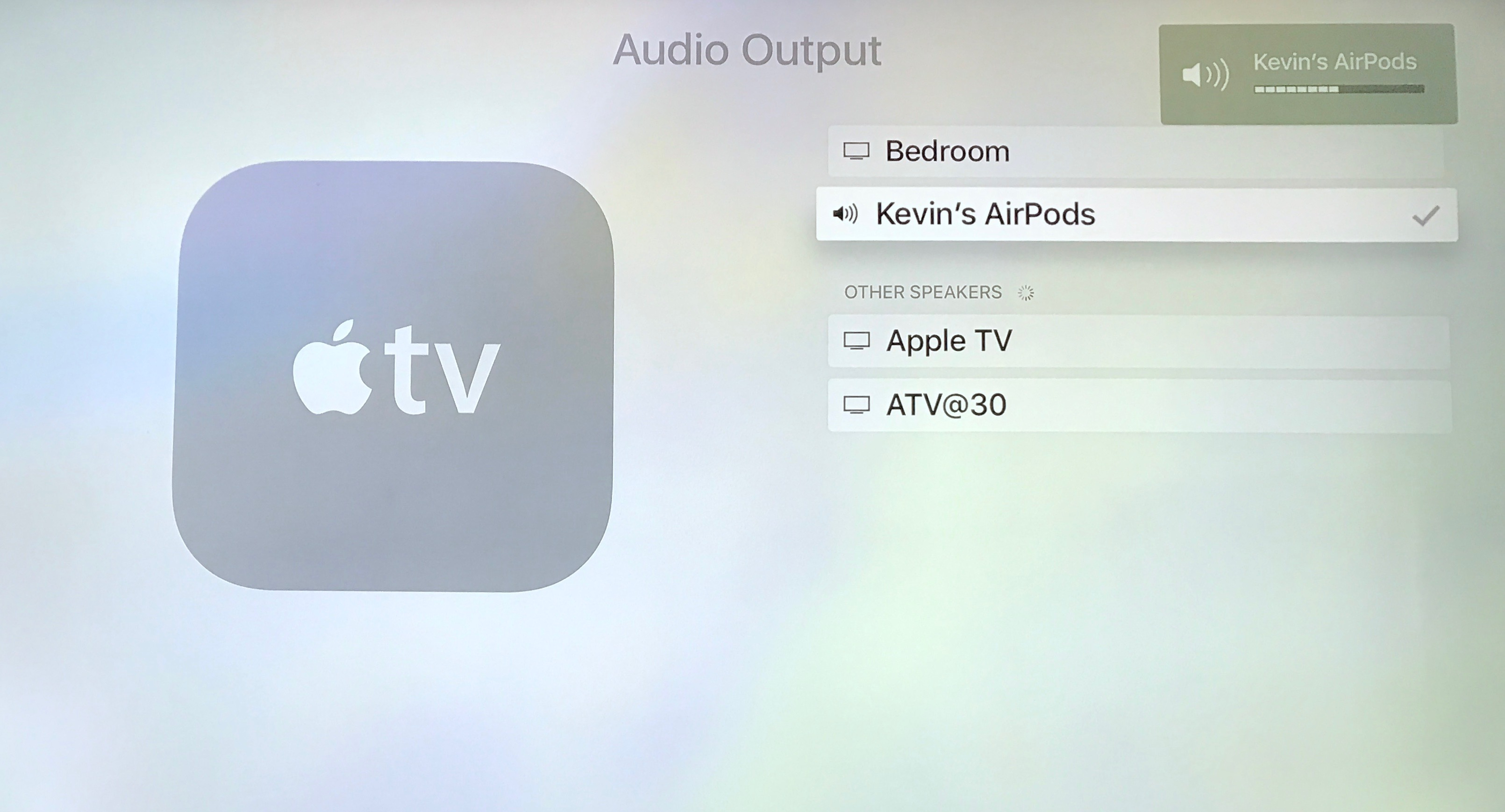 apple tv settings audio output airpods