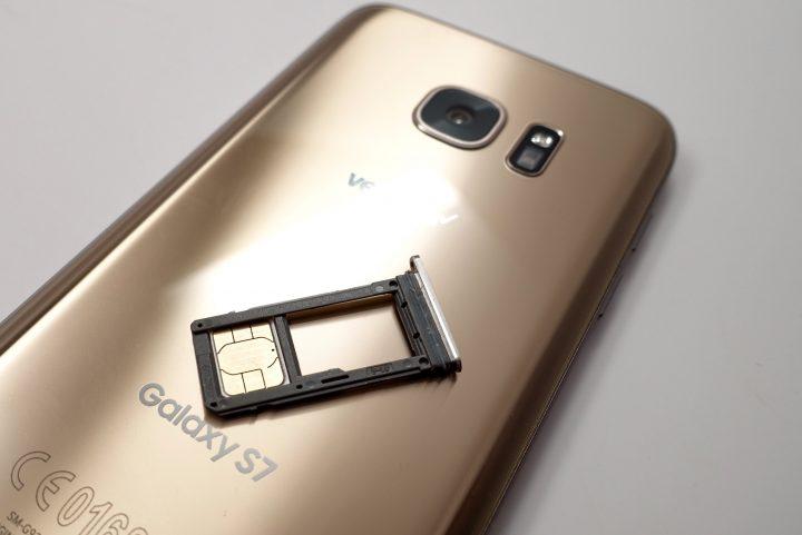 A SIM card taken from inside the Samsung Galaxy S7 Edge