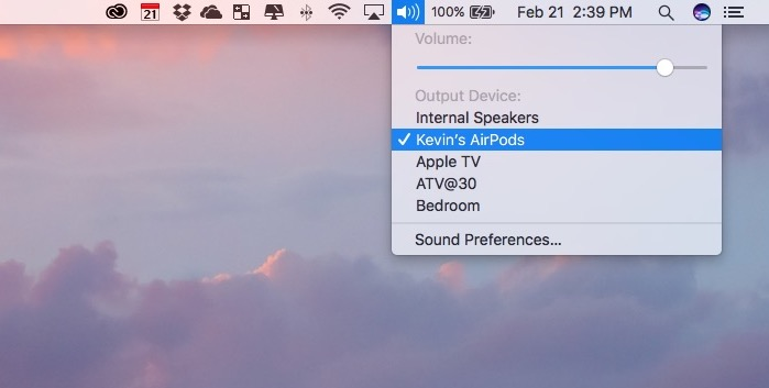 connect airpods to mac via sound menu