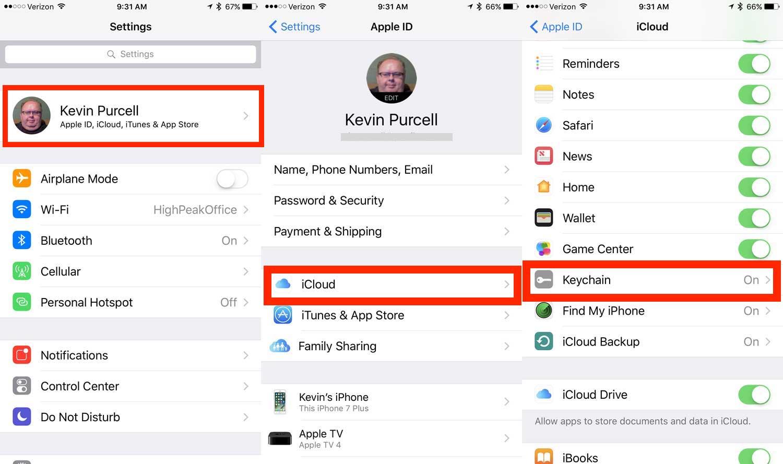 how to turn on icloud keychain on ipad