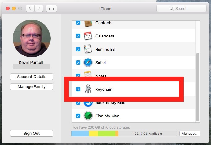 macos 10 system prefrences icloud keychain sync settings
