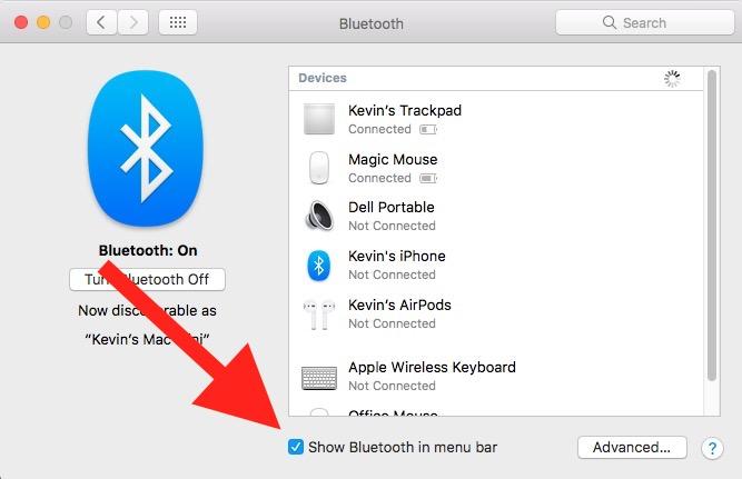 show bluetooth in menu bar macos 10
