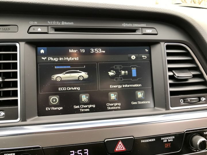 In the 2017 Hyundai Sonata Plug-in Hybrid you get a very nice touch screen with Android Auto and Apple CarPlay as well as electric vehicle options.