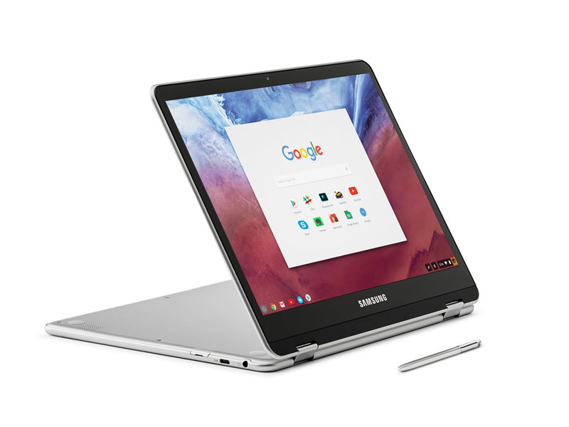 Samsung Chromebook Plus with S Pen in Stand Mode