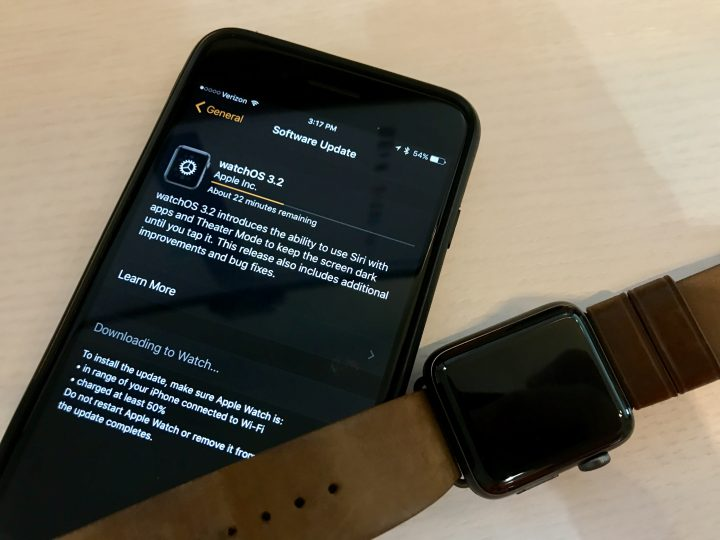 How long the watchOS 3.2 update takes to install on the Apple Watch.
