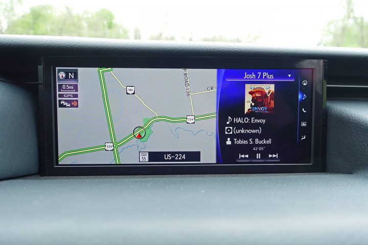 The Lexus IS 350 F Sport includes a massive display that you can section off to show you two sets of information.