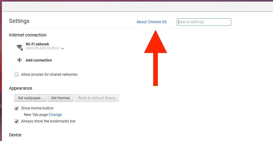 choose about Chrome OS in Settings