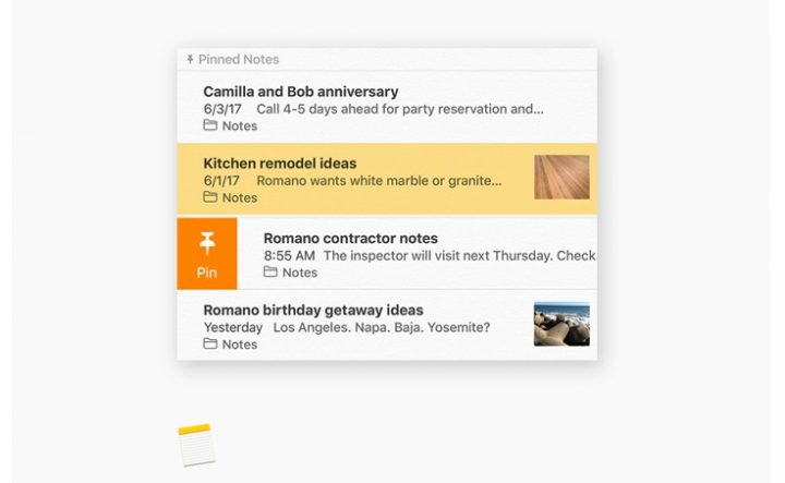New macOS High Sierra Notes Features