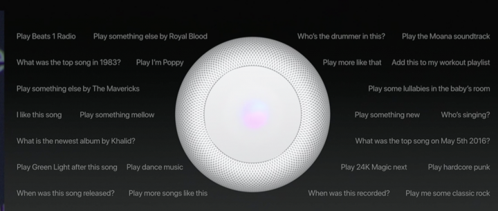 Apple HomePod speaker with words Siri Commands for Apple Music