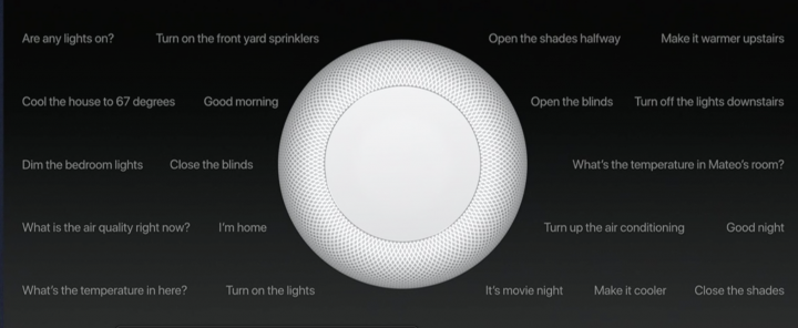 Apple HomePod speaker with words Siri Commands