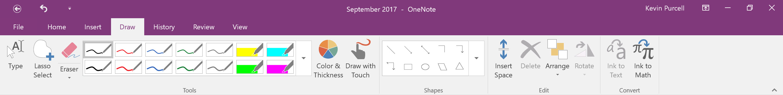 onenote drawing tab in ribbon