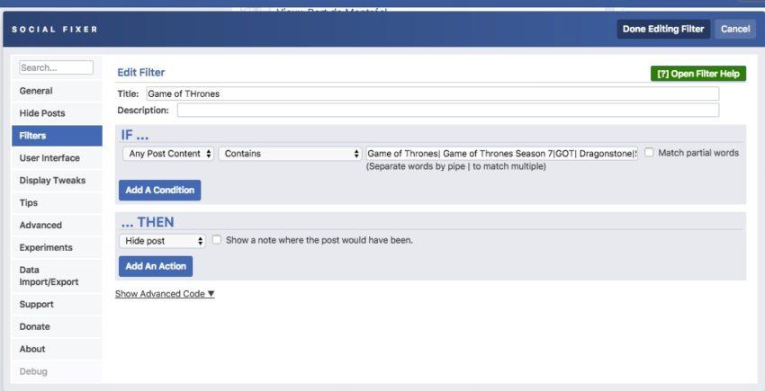 Block Game of Thrones spoilers on Facebook.