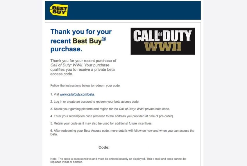 Find your Call of Duty: WWII beta code.