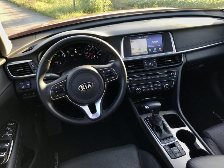 The 2017 Optima Hybrid offers a spacious and refined interior.