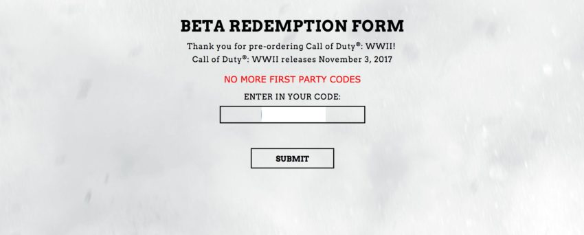 Some users report problems entering the Call of Duty: WWII beta code from Amazon and other retailers.
