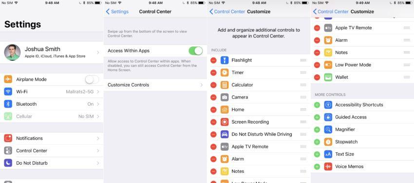 Customize the iOS 11 Control Center.