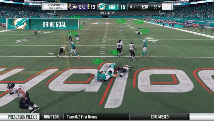 Complete goals and earn player XP in Madden 18 franchise mode.