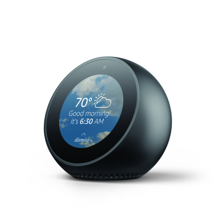 The Echo Spot is a smart alarm click like device with Alexa.