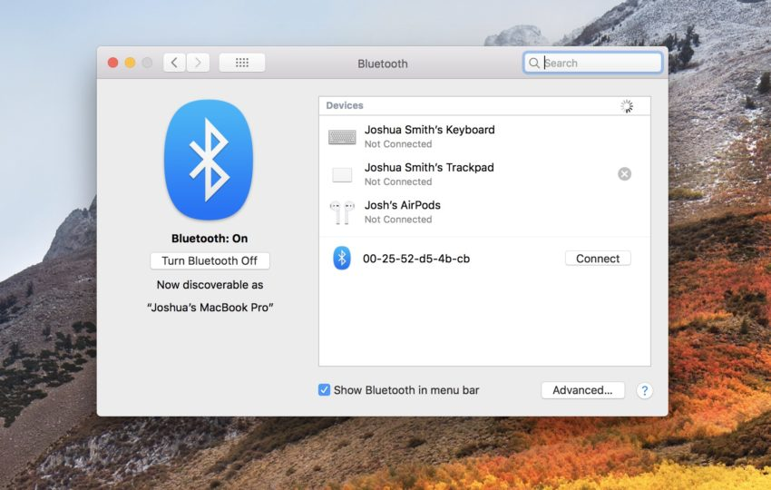 Fix most macOS High Sierra Bluetooth problems by re-connecting.