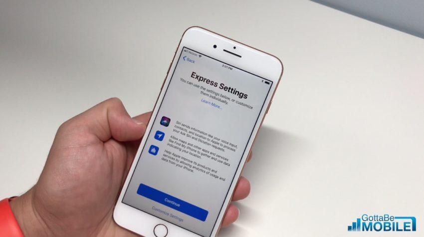 Choose Express Settings or manually choose iPhone 8 options.