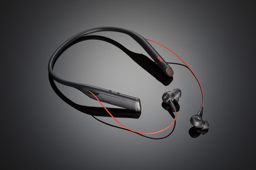 The Bluetooth business ready Plantronics Voyager 6200 UC neckband headphones.