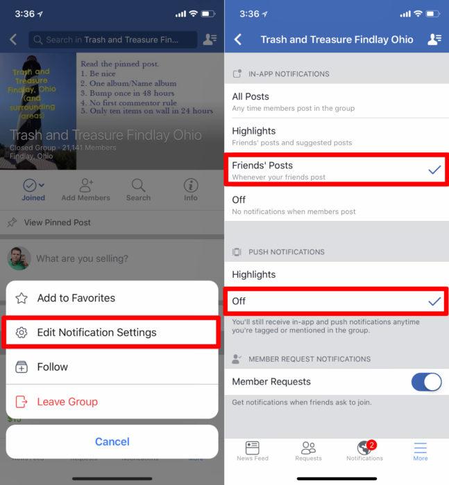 Change Facebook Group notification settings.