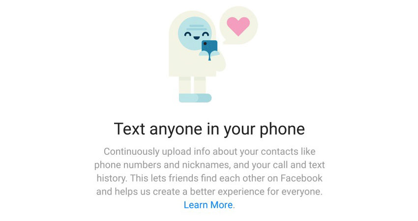 Facebook asking for your call and text logs.