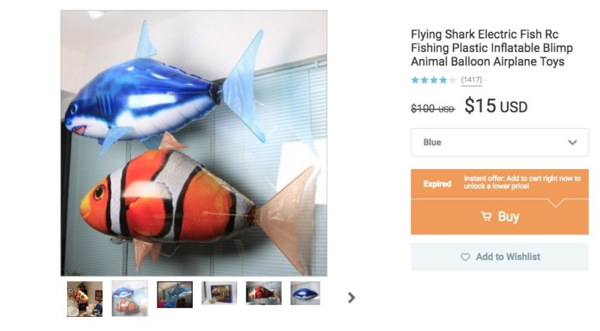 Flying Remote Control Fish or Shark