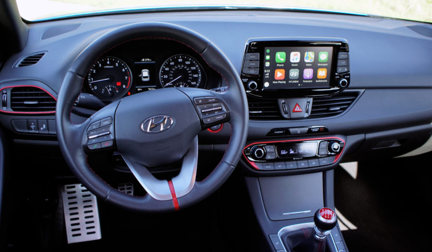 The Elantra GT Sport delivers easy access to controls, comfortable seats and the red trim looks nice.