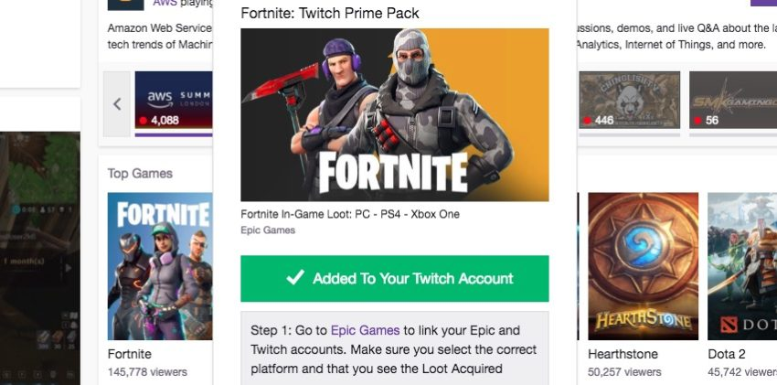 Claim the free Fortnite skins on Twitch.
