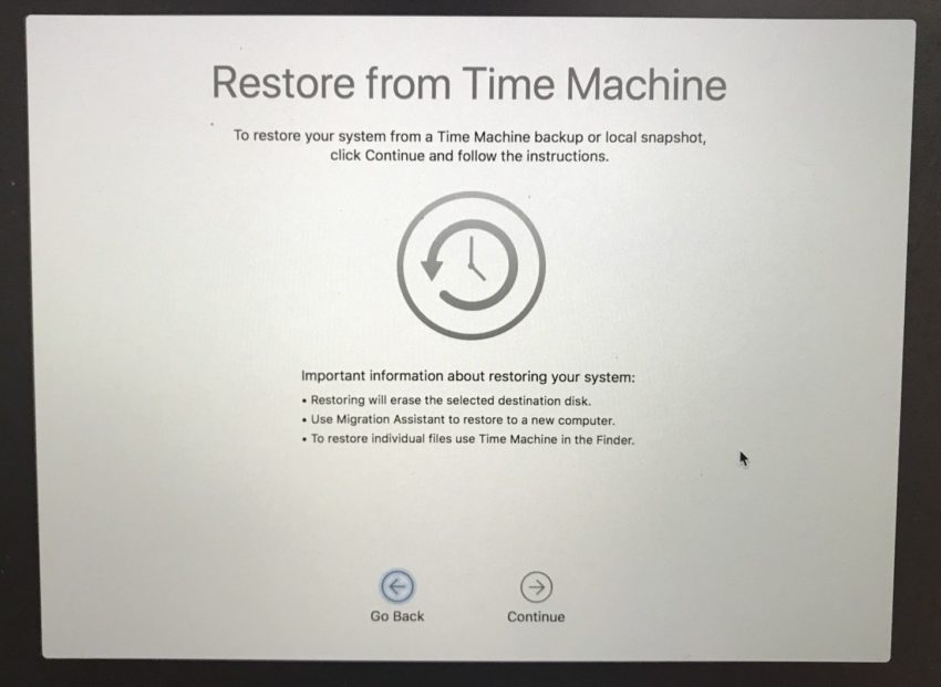 Restore a Time Machine backup that you made on macOS High Sierra.