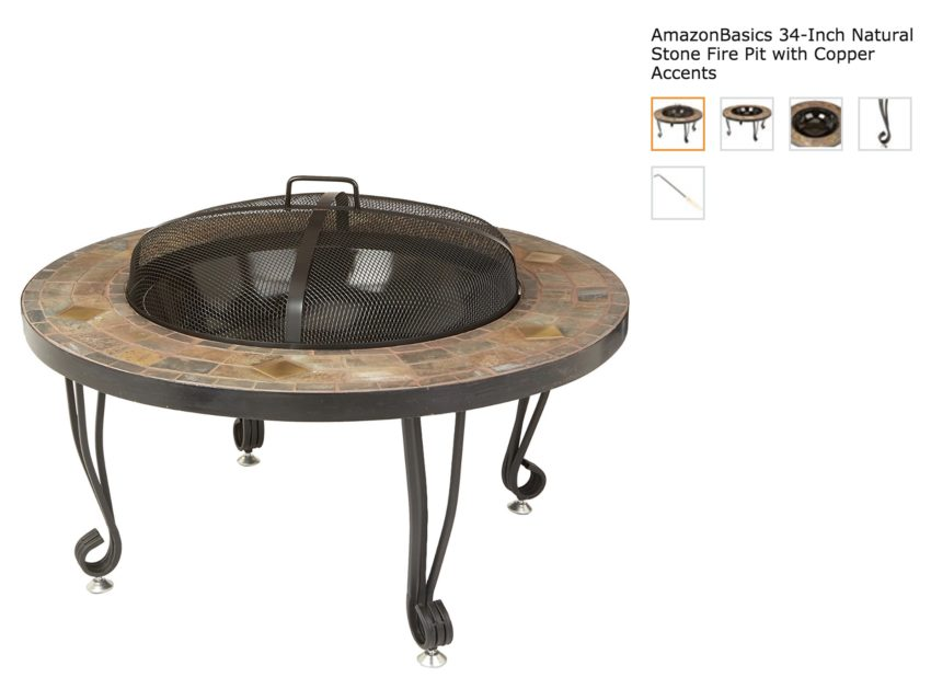 34-inch Natural Stone Fire Pit with Copper Accents