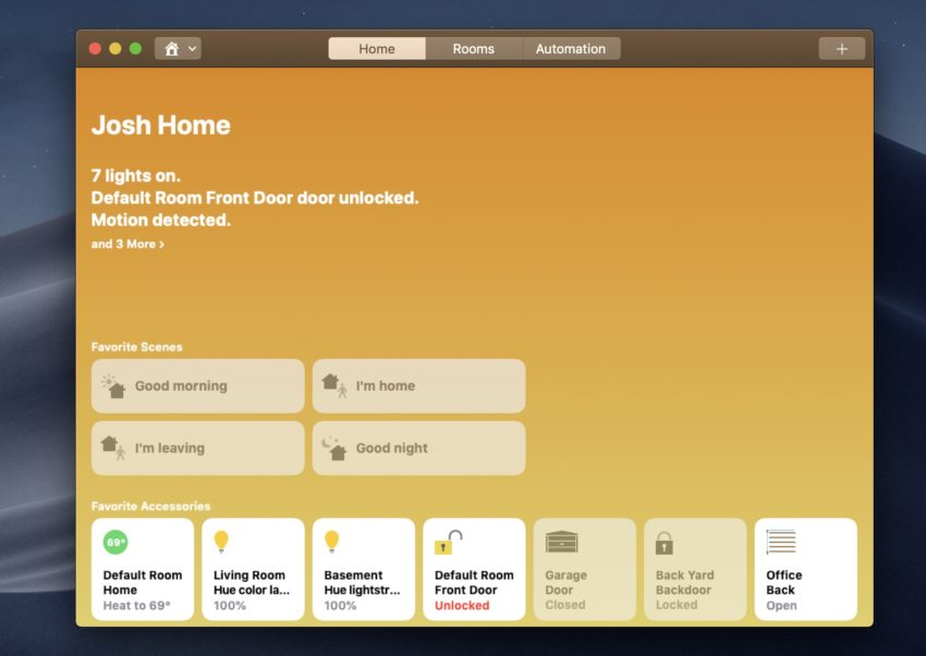 Customize Home notifications in macOS Mojave.