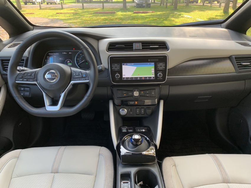 A comfortable interior and handy tech features await you inside the Nissan Leaf.