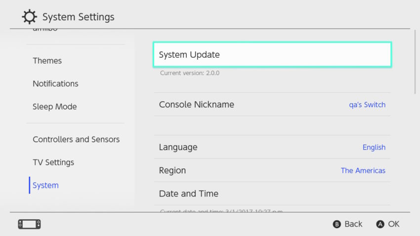 Install a Nintendo Switch update before you give the gift.
