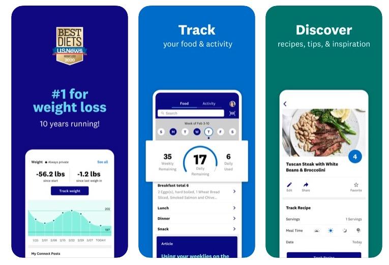 weight watchers app screenshots