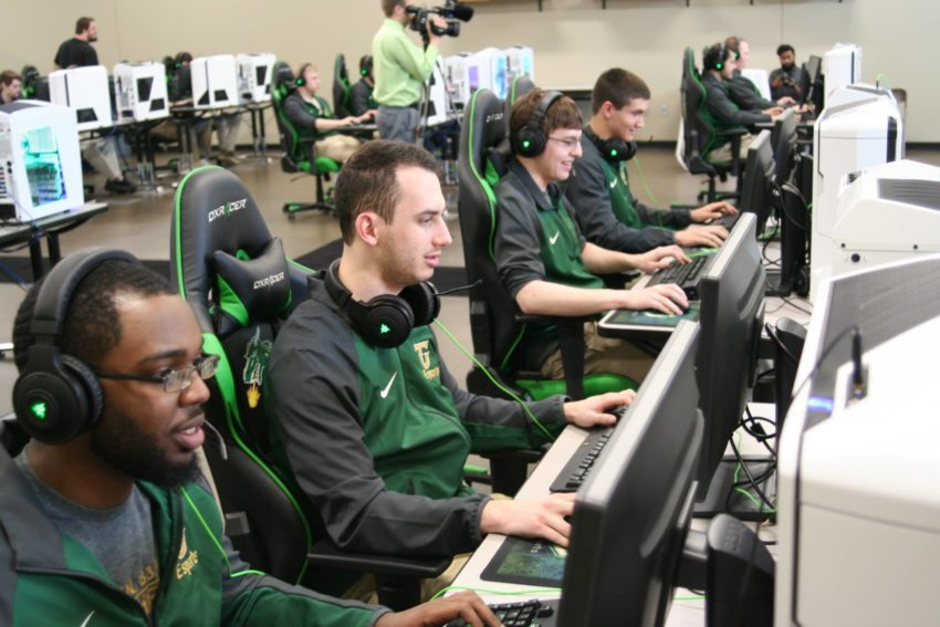 High school esports can lead to college esports scholarships. Here we see Tiffin University students in their new esports arena. Credit: Tiffin University