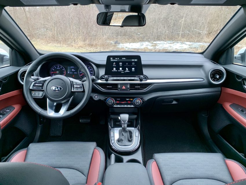 The two-tone interior is stylish and comfortable.