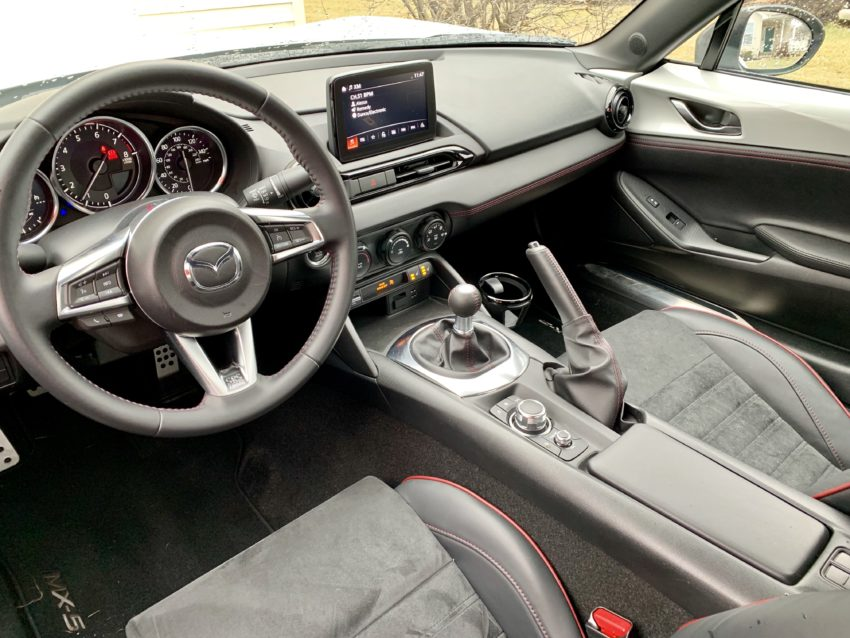 A small cabin, but comfortable with heated Recaro seats.