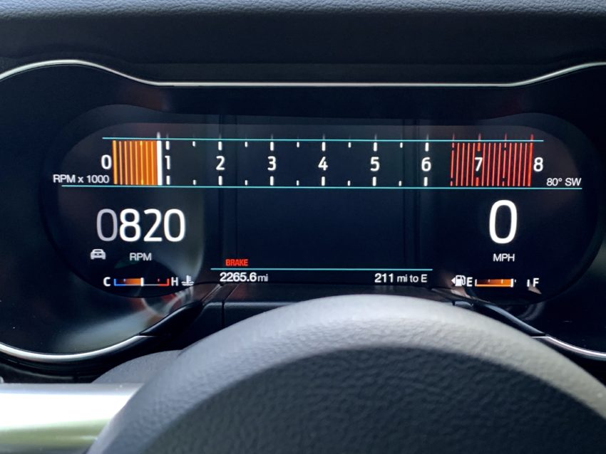 The cluster changes with the drive mode.