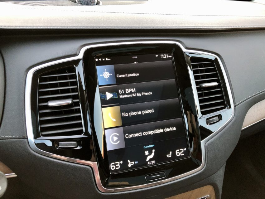 A large portrait orientation display with support for Apple CarPlay & Android Auto.