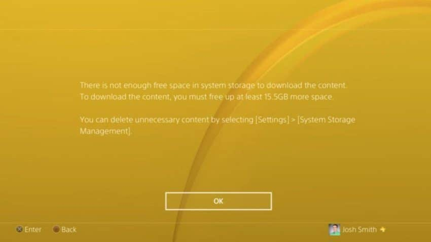 Call of Duty: Modern Warfare install error low storage.