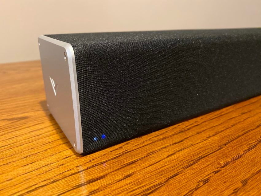 The Vizio 5.1.4 Dolby Atmos soundbar is a 36-inch soundbar with subwoofer and two satellite speakers.