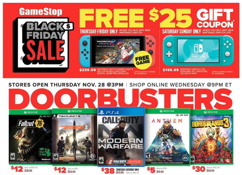 Here are the big GameStop Black Friday deals.