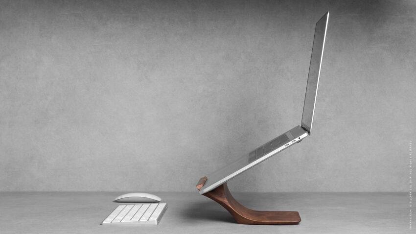 wood macbook pro stand