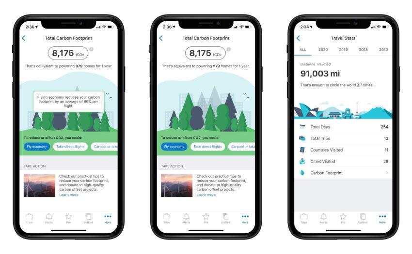 Tripit app carbon footprint section.