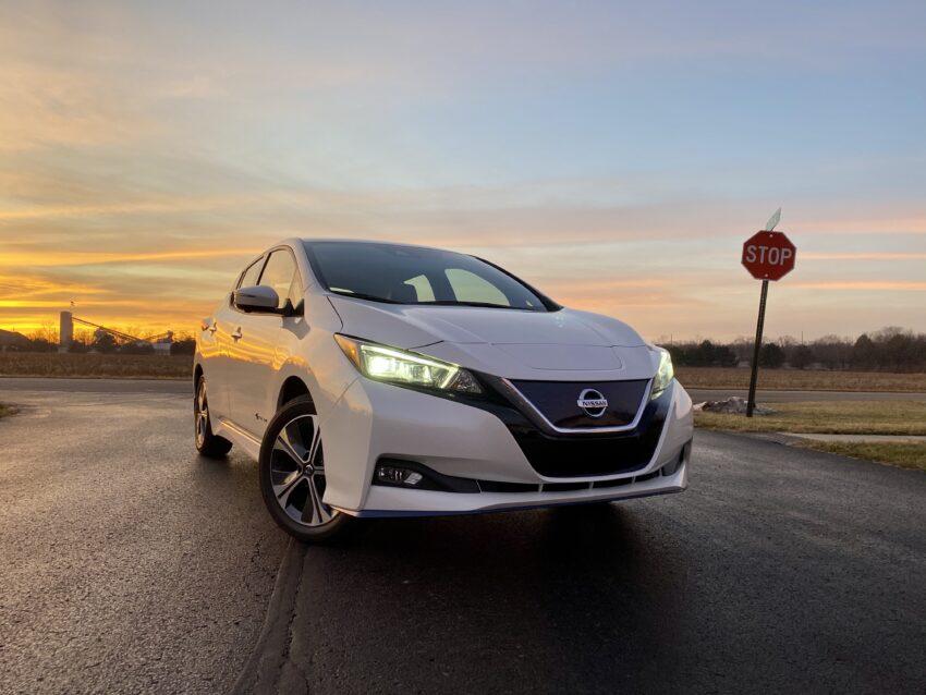 Nissan Leaf Plus at sunset.