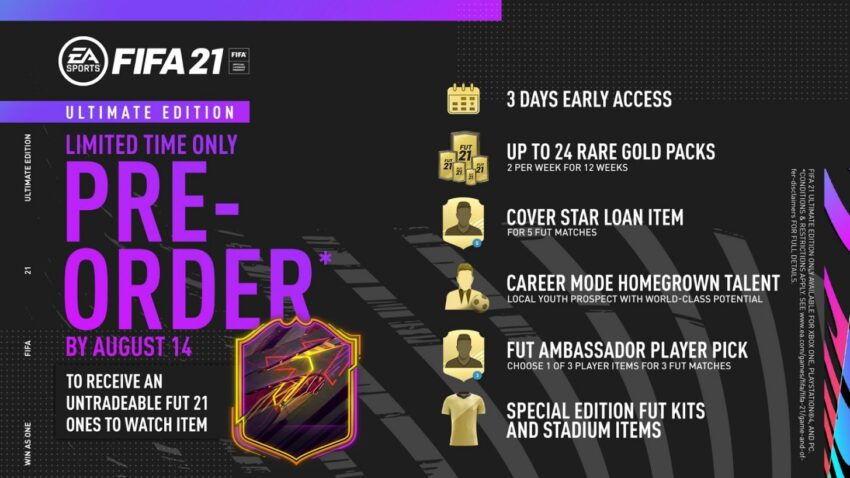 What you get with the FIFA 21 Ultimate edition.