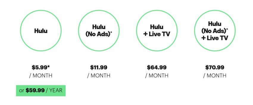 how much hulu costs $5.99 , $11.99 , $64.99 , $70.99